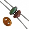 Twin 2-hole Bead 2.5x5mm Metallic Green Copper Mix